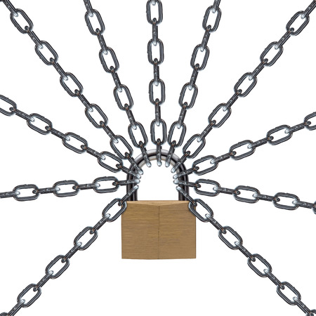 metal chain: Metal chain and padlock on white background