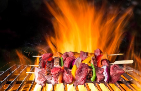grate: Tasty skewers on cast-iron grate. Stock Photo