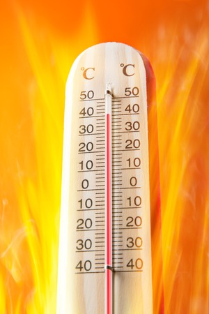 hotter: Celsius thermomether with fire flames