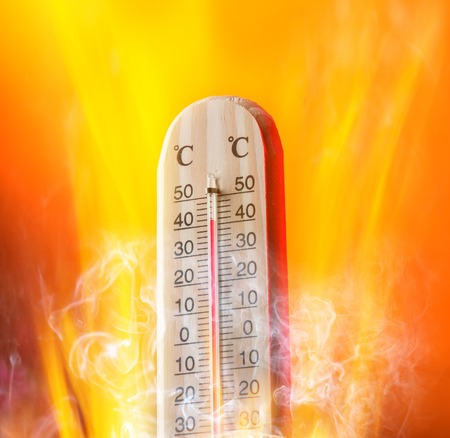 extreme science: Celsius thermomether with hot background Stock Photo