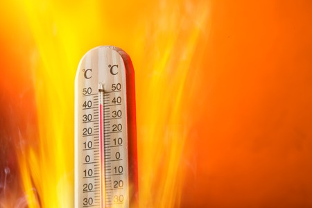 hot: Celsius thermomether with fire flames, hot weather.