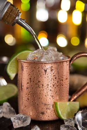 mule: Cold Moscow Mule - Ginger Beer, lime and Vodka on bar