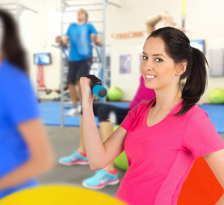 fitness club: Woman training in a fitness club, close-up.