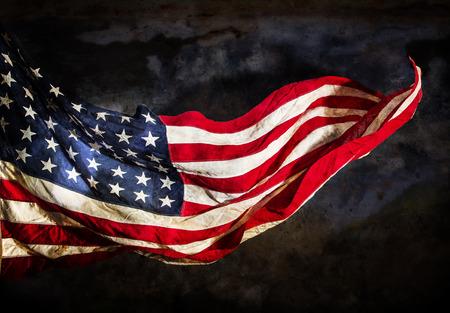 bandera estados unidos: Bandera americana del Grunge, primer plano.