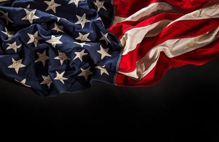american flag: Grunge American flag, close-up.