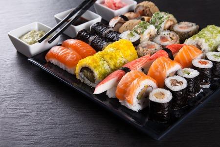 sushi restaurant: Set of sushi set closeup.