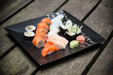 sushi plate: Japanese seafood sushi set closeup.