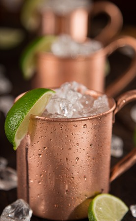 mules: old Moscow Mules - Ginger Beer, lime and Vodka on bar