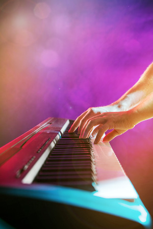 piano closeup: Close-up of pianist playing the piano. Stock Photo