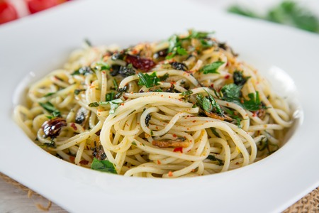 Italian pasta aglio olio, close-up.