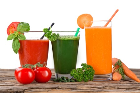 juice bar: Fresh juice,Healthy drink on wooden background