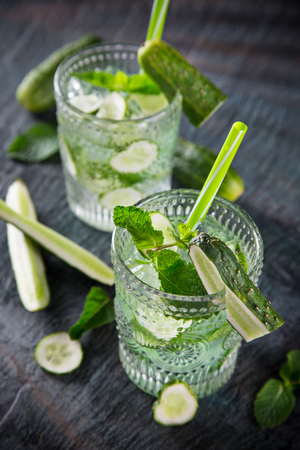 cocktails: Glasses of fresh,home-made  fresh cucumber juice. Healthy life style. Stock Photo