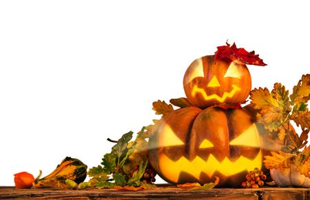 Scarry pumpkins, jack-o-lantern, Halloween theme.