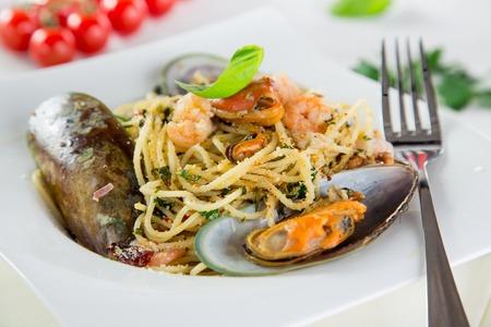 italian sea: Italian pasta with sea fruit, close-up.