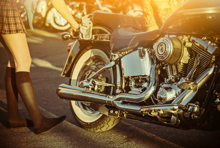 touring: Close up of a high power motorcycle, classic vintage style.