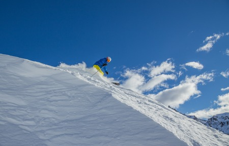 Skier on pise in high mountains, winter sport. Stock Photo