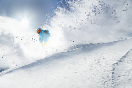 pise: Skier on pise in high mountains, winter sport. Stock Photo