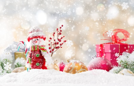 snow  snowy: Christmas background with snowman and falling snow.