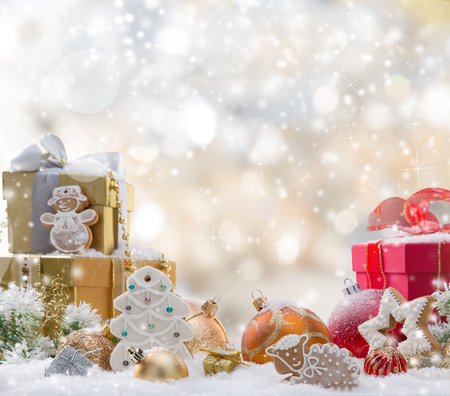 xmas background: Decorative christmas background with snow, close-up.