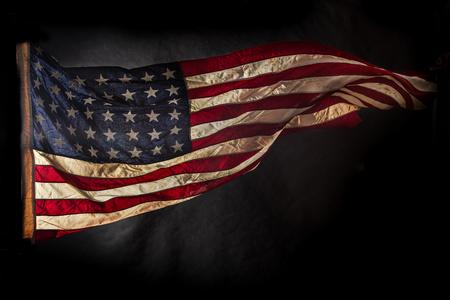 patriotic background: Closeup of grunge American flag