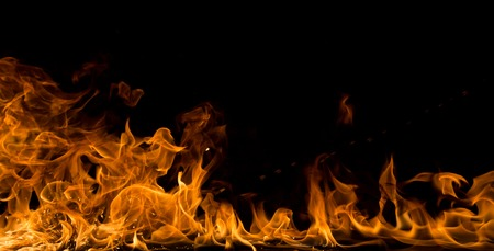 blaze: Fire flames on black background, close-up. Stock Photo