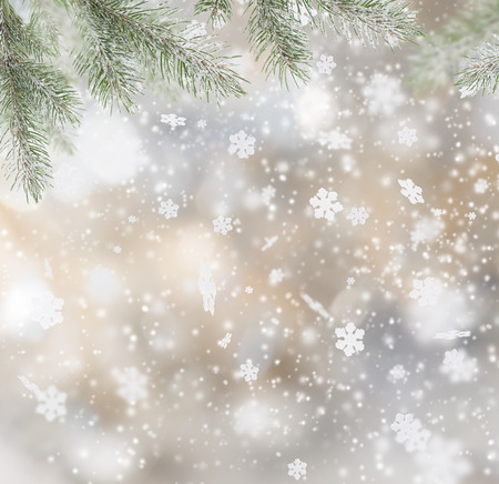 new year's cap: Abstract Christmas background with falling snow flakes Stock Photo