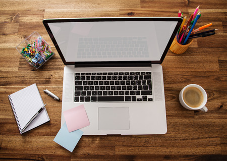 Office work place with notebook 스톡 콘텐츠