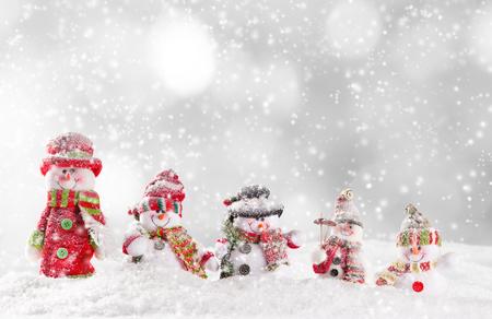 Sfondo di Natale con pupazzi di neve Archivio Fotografico - 46807727
