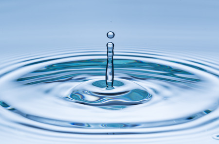 drops: Blue water drop falling