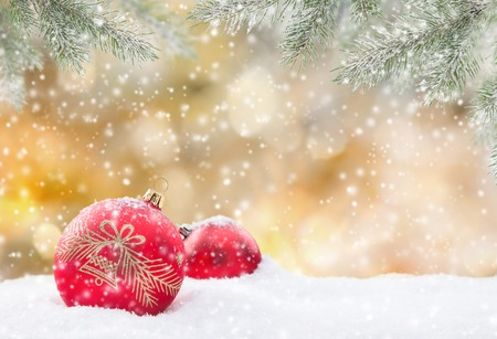 Abstract Christmas background with falling snow. Stock Photo