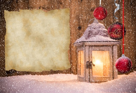 christmas blue: Christmas background with lantern and falling snow. Stock Photo