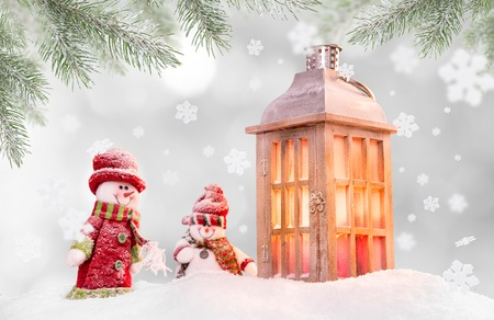 christmas winter: Christmas background with lantern and falling snow. Stock Photo