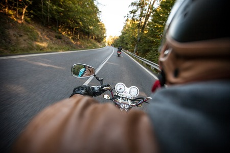 Primer plano de una motocicleta de alta potencia, estilo clásico de la vendimia. Foto de archivo - 47045946