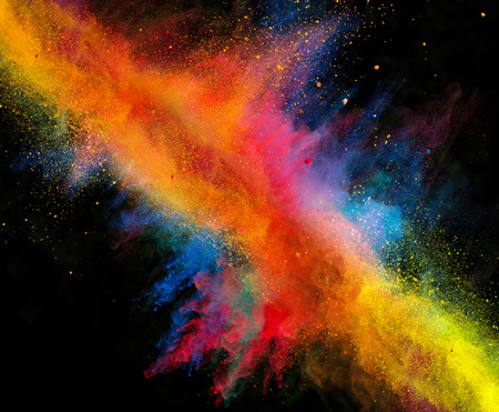 white color: Launched colorful powder, isolated on black background