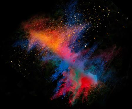 Lanciato polvere colorata, isolato su sfondo nero Archivio Fotografico - 47418321