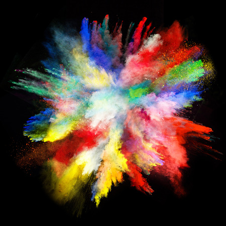 Launched colorful powder on black background Stok Fotoğraf