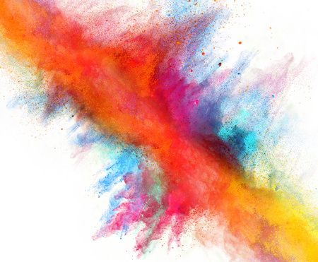 splatter: Launched colorful powder, isolated on white background