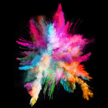 explode: Launched colorful powder, isolated on black background