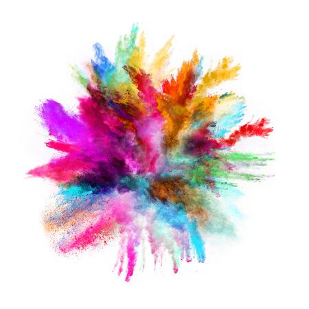 de colores: Lanzado en polvo colorido, aislado en el fondo negro Foto de archivo