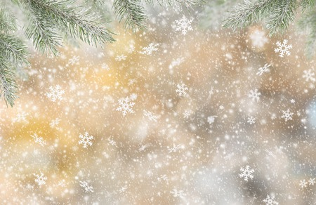 snow falling: Abstract Christmas background with falling snow flakes Stock Photo