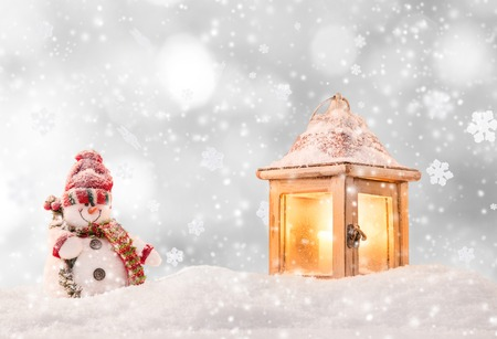 christmas winter: Christmas background with snowman and falling snow.
