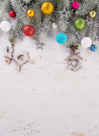 spruce: Abstract Christmas background with spruce branches on old wooden table.