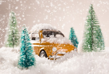 yellow trees: Miniature yellow car with spruce trees. Christmas theme.
