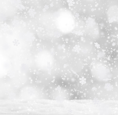 on snow: Abstract Christmas background with falling snow flakes Stock Photo