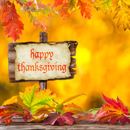 dry leaves: Happy Thanksgiving  - harvest background with pumpkin and dry leaves