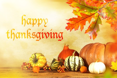 thanksgiving: Happy Thanksgiving  - harvest background with pumpkin and dry leaves