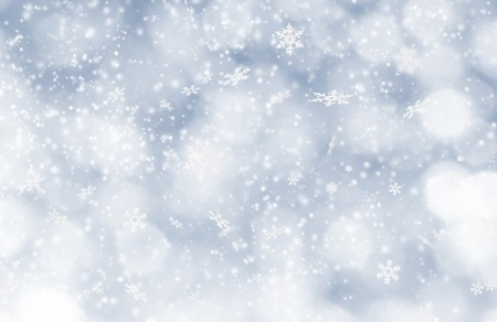 winter holiday: Abstract Christmas background with falling snow flakes Stock Photo