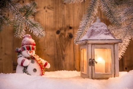christmas winter: Abstract Christmas background with lantern and falling snow flakes