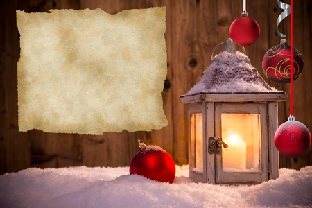 snow flakes: Abstract Christmas background with lantern and falling snow flakes