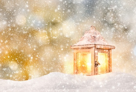 sky lantern: Abstract Christmas background with lantern and falling snow flakes
